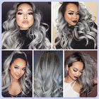 Body Wave Thick Ombre Human Hair Extensions 40 Inch Grey For Women